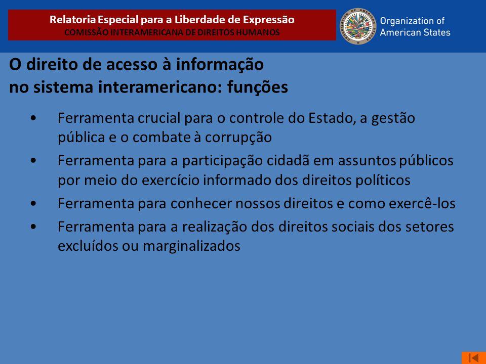 O direito de acesso à informação no sistema interamericano: funções