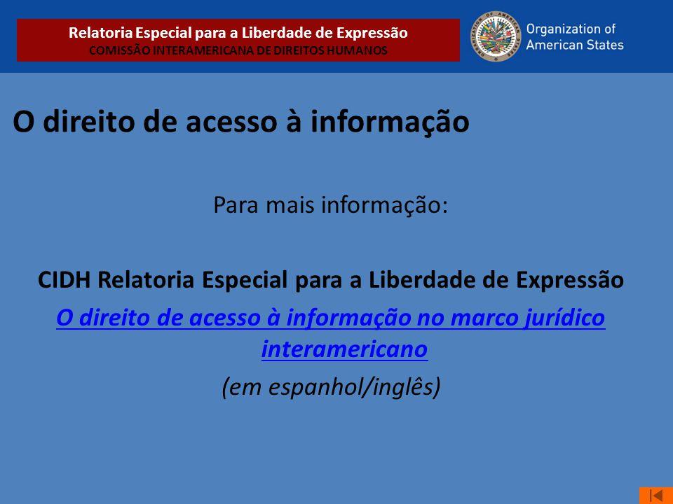 O direito de acesso à informação