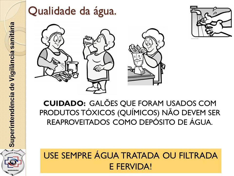 USE SEMPRE ÁGUA TRATADA OU FILTRADA E FERVIDA!