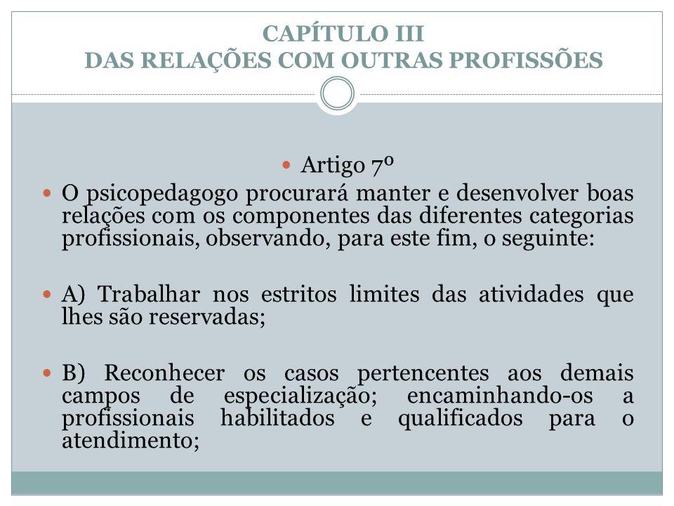 CAPÍTULO III DAS RELAÇÕES COM OUTRAS PROFISSÕES