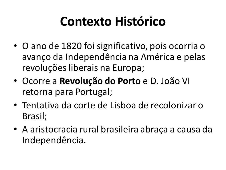 Contexto Histórico O ano de 1820 foi significativo, pois ocorria o avanço da Independência na América e pelas revoluções liberais na Europa;
