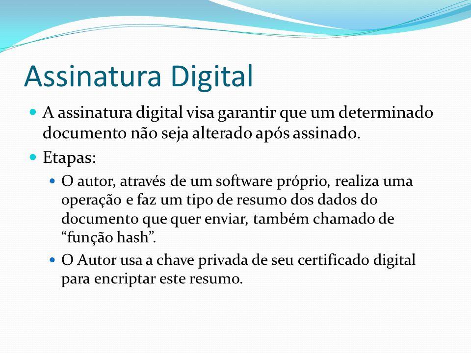 Assinatura Digital A assinatura digital visa garantir que um determinado documento não seja alterado após assinado.
