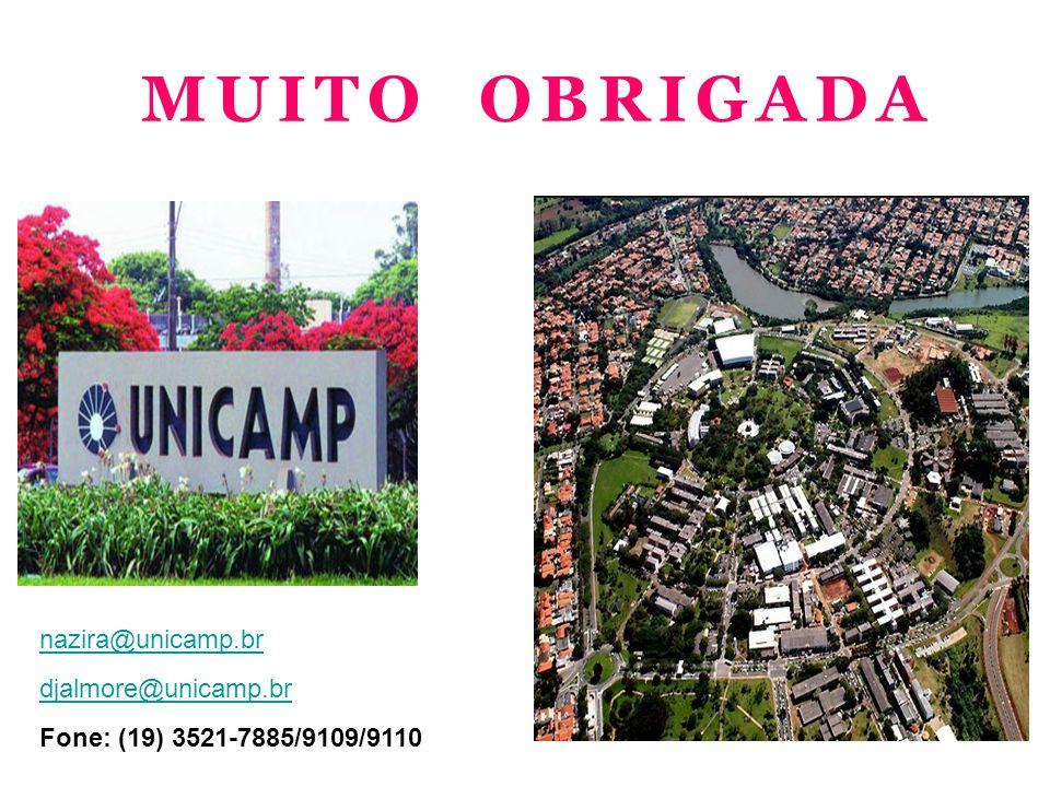 MUITO OBRIGADA nazira@unicamp.br djalmore@unicamp.br
