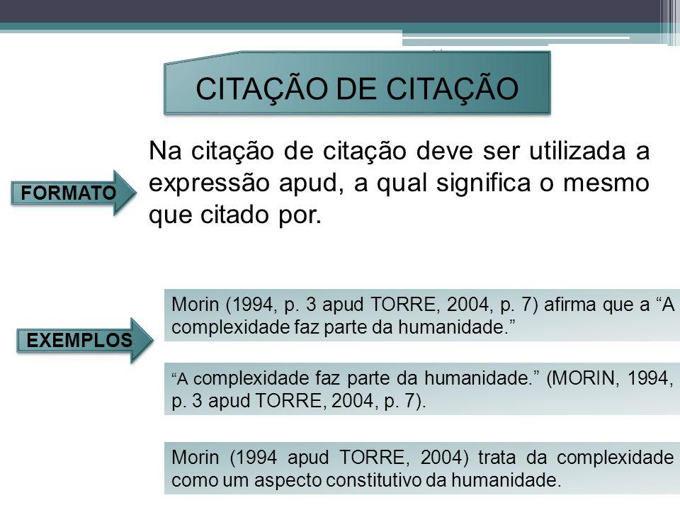 Orleans - 2011. CITAÇÃO DE CITAÇÃO. Na citação de citação deve ser utilizada a expressão apud, a qual significa o mesmo que citado por.
