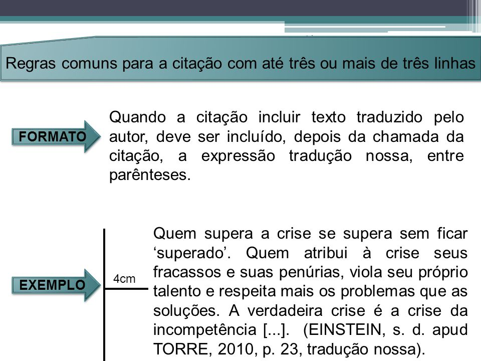 Regras comuns para a citação com até três ou mais de três linhas