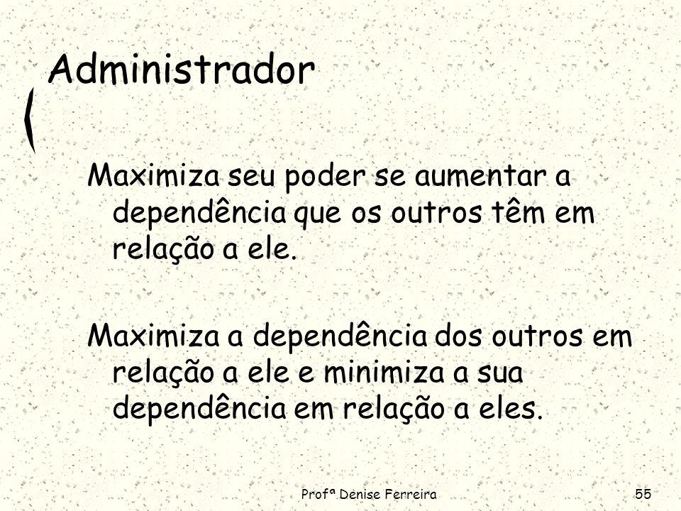 Administrador Maximiza seu poder se aumentar a dependência que os outros têm em relação a ele.