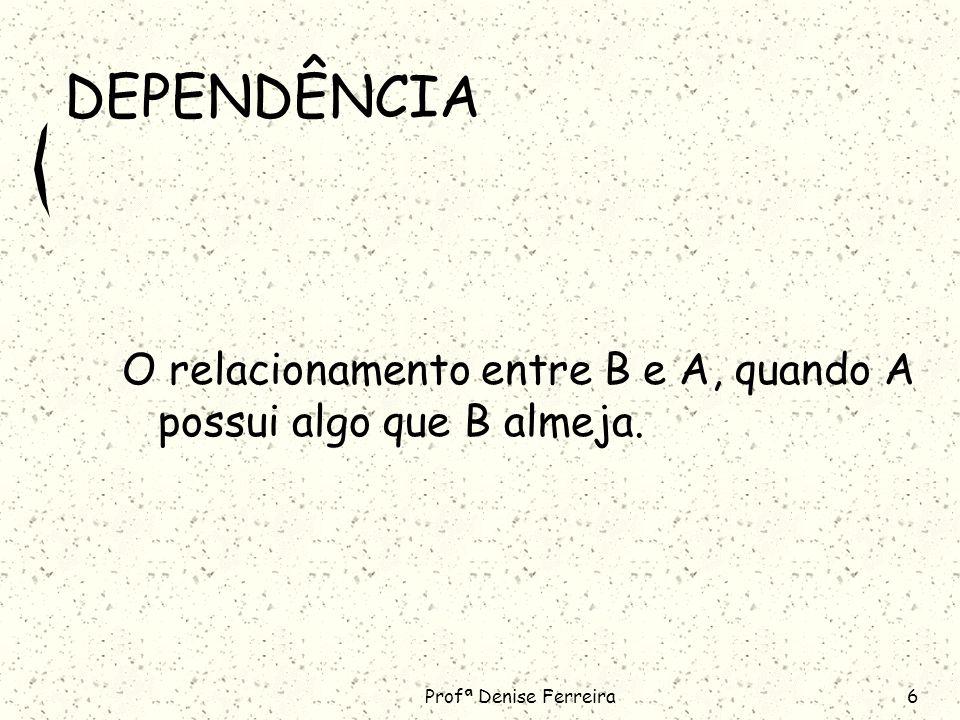 DEPENDÊNCIA O relacionamento entre B e A, quando A possui algo que B almeja. Profª Denise Ferreira