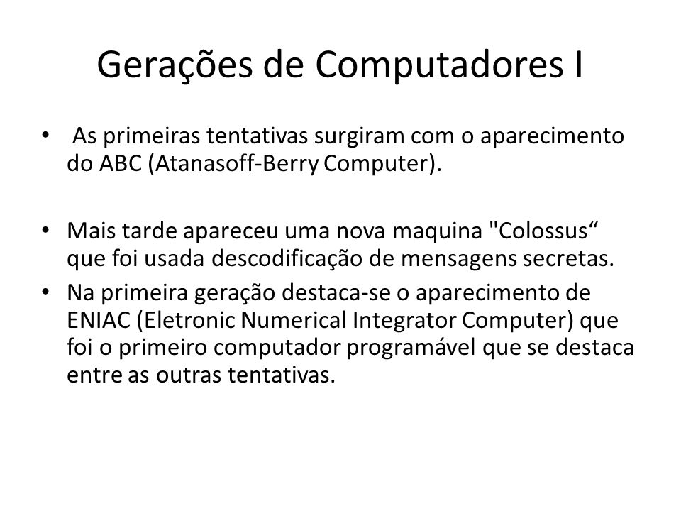 Gerações de Computadores I