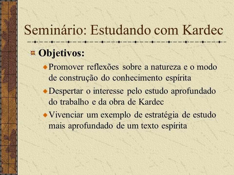 Seminário: Estudando com Kardec