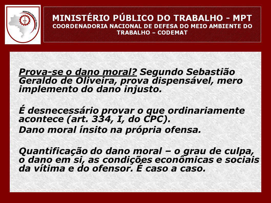 Prova-se o dano moral Segundo Sebastião Geraldo de Oliveira, prova dispensável, mero implemento do dano injusto.