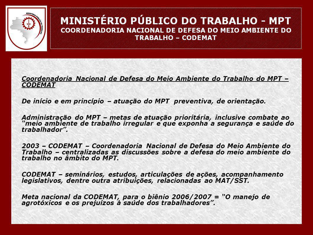 Coordenadoria Nacional de Defesa do Meio Ambiente do Trabalho do MPT – CODEMAT