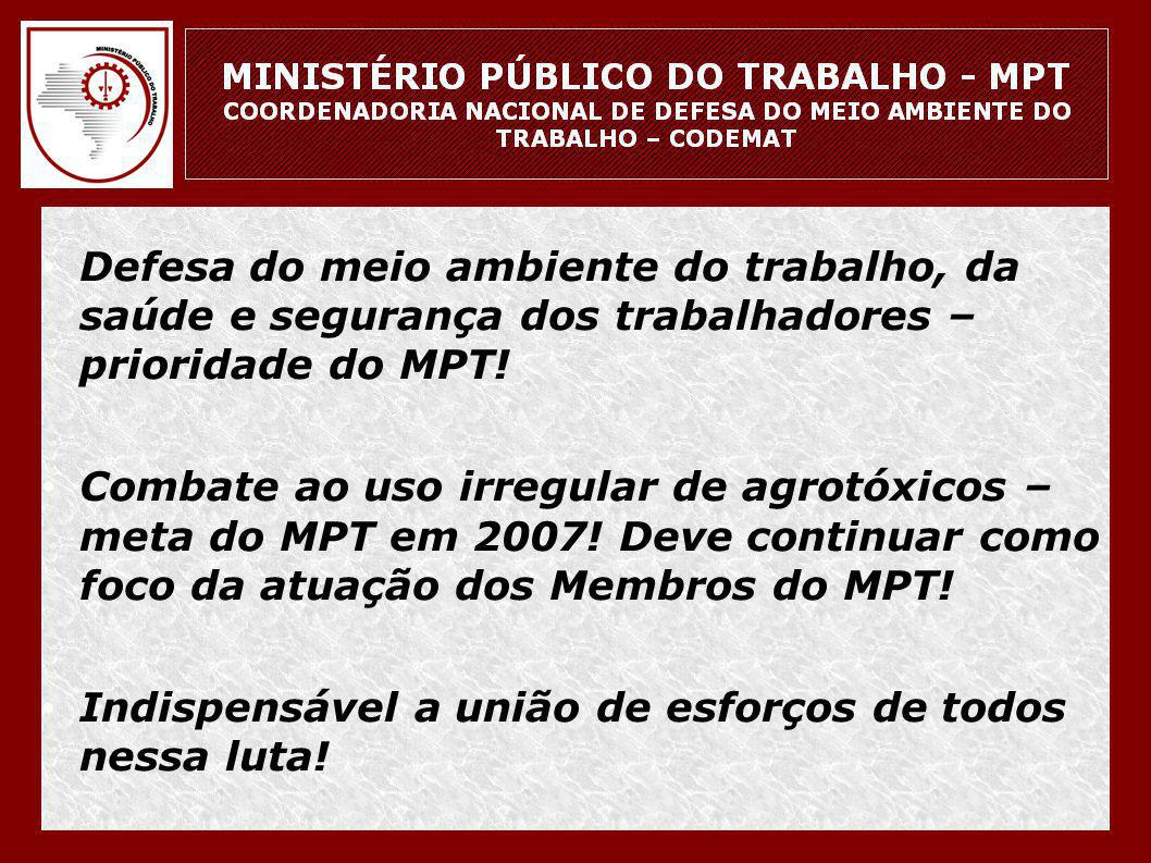 Defesa do meio ambiente do trabalho, da saúde e segurança dos trabalhadores – prioridade do MPT!