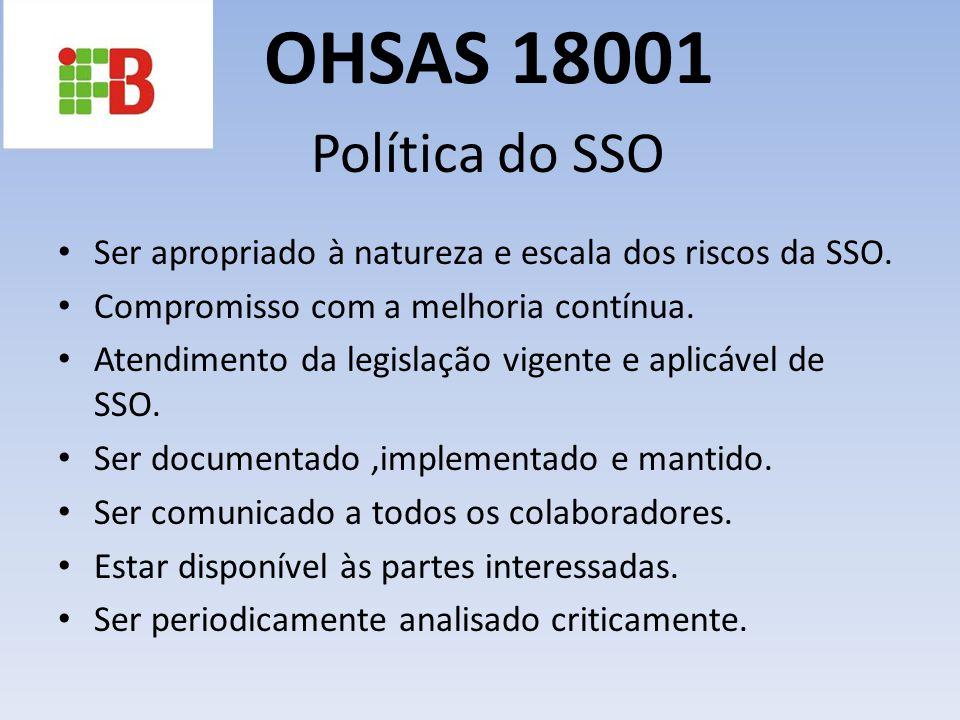 OHSAS 18001 Política do SSO. Ser apropriado à natureza e escala dos riscos da SSO. Compromisso com a melhoria contínua.