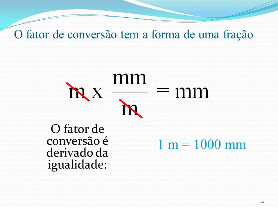 O fator de conversão tem a forma de uma fração