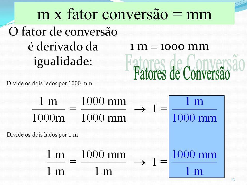 O fator de conversão é derivado da igualidade: