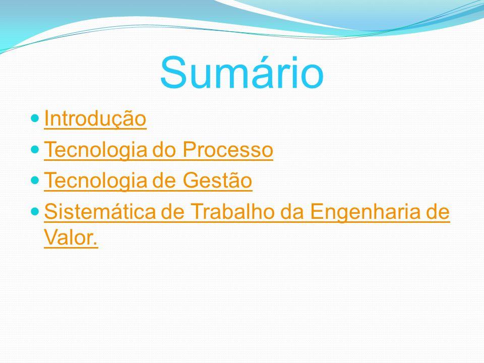 Sumário Introdução Tecnologia do Processo Tecnologia de Gestão