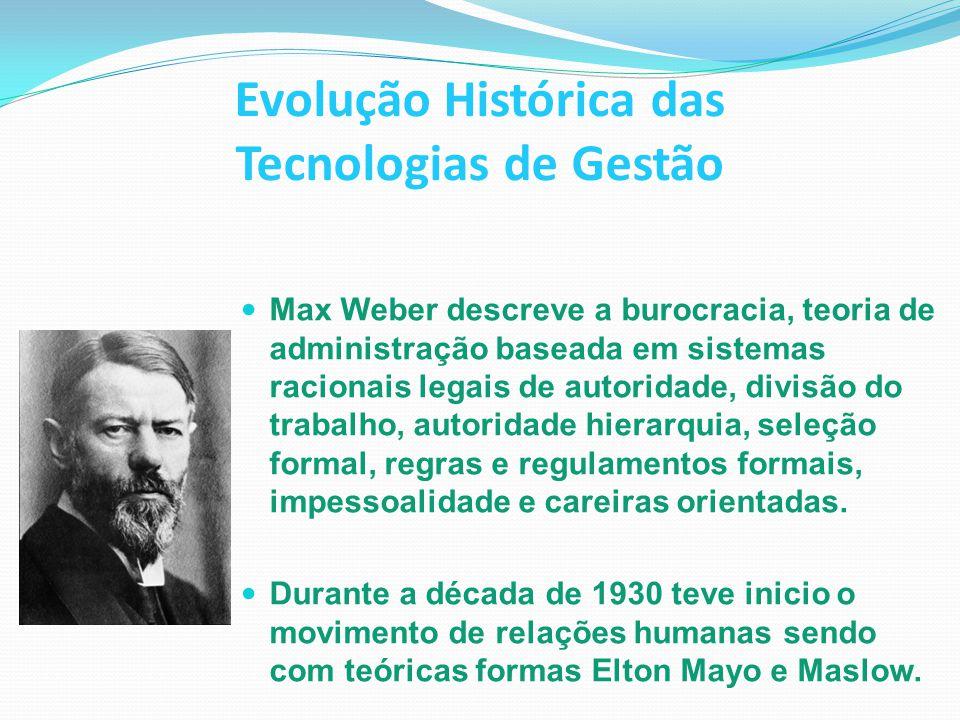 Evolução Histórica das Tecnologias de Gestão