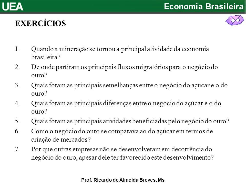 EXERCÍCIOS Quando a mineração se tornou a principal atividade da economia brasileira