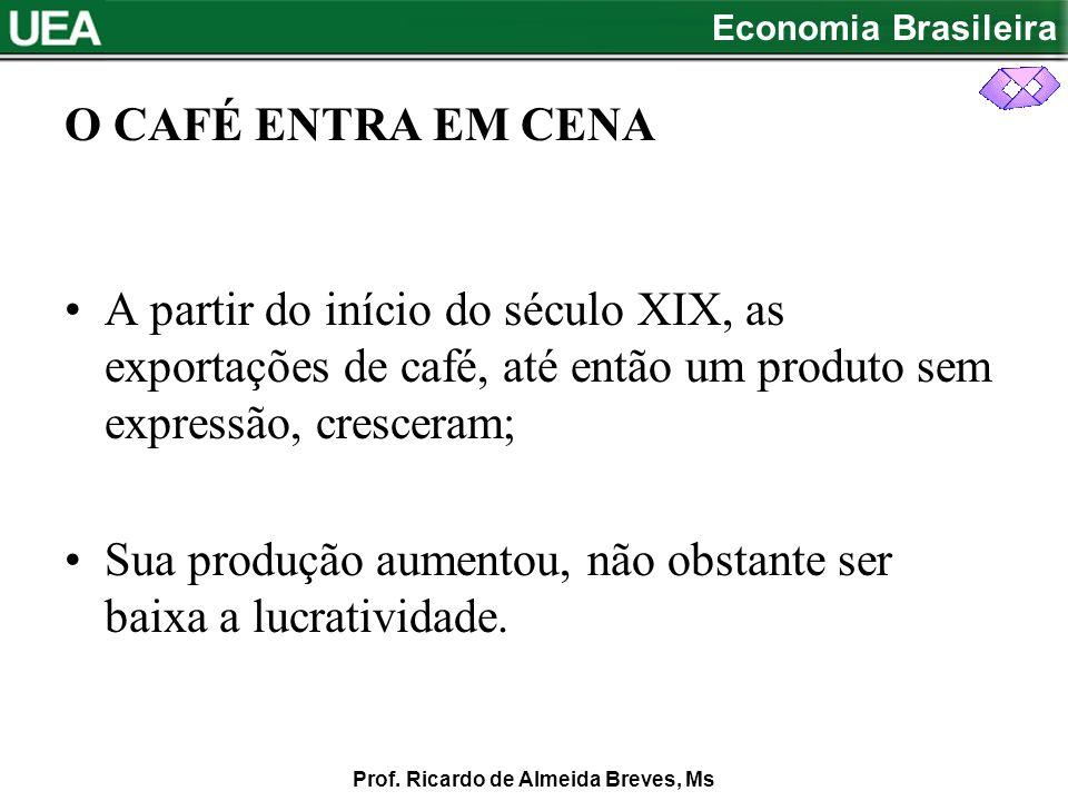 O CAFÉ ENTRA EM CENA A partir do início do século XIX, as exportações de café, até então um produto sem expressão, cresceram;