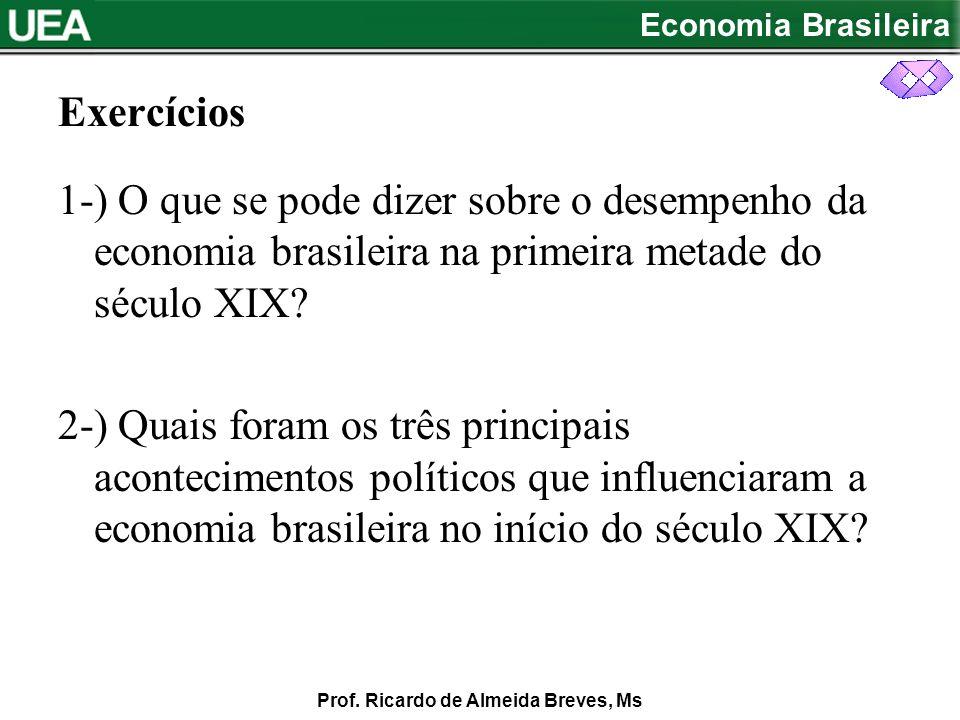 Exercícios 1-) O que se pode dizer sobre o desempenho da economia brasileira na primeira metade do século XIX