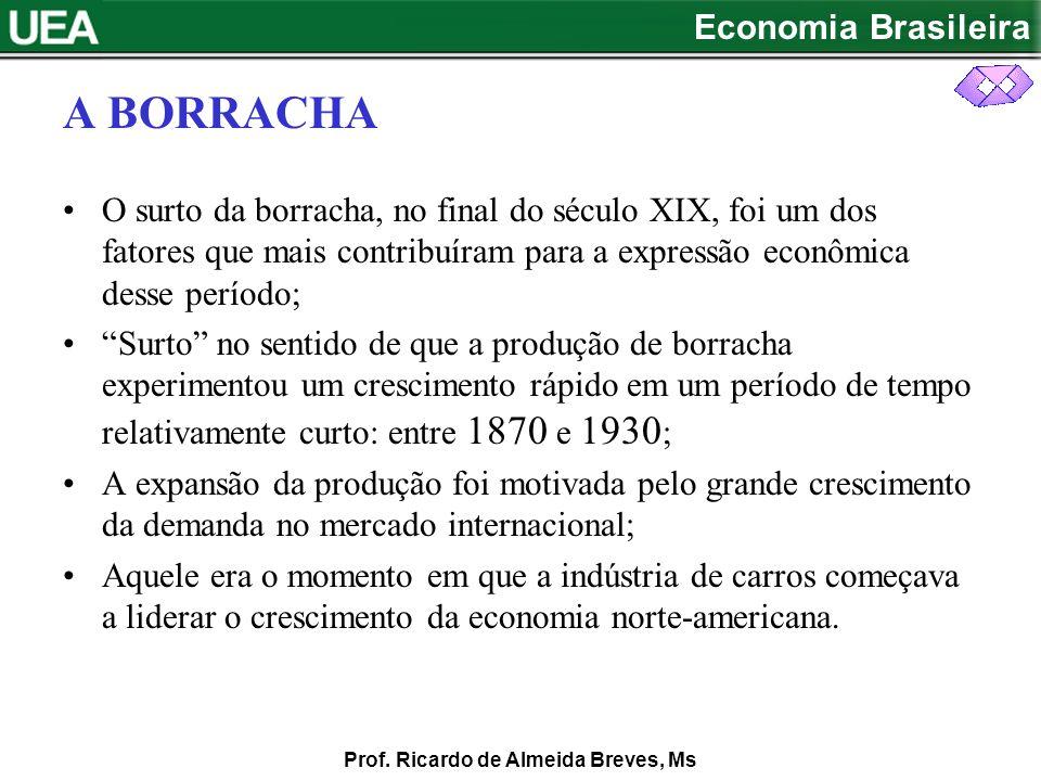 A BORRACHA O surto da borracha, no final do século XIX, foi um dos fatores que mais contribuíram para a expressão econômica desse período;