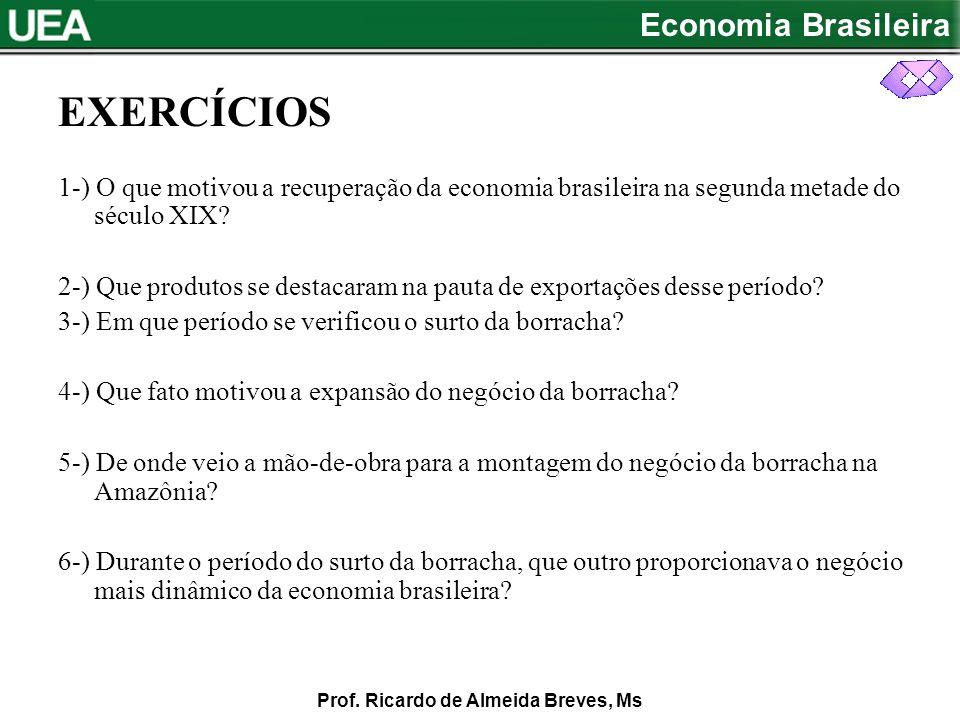 EXERCÍCIOS 1-) O que motivou a recuperação da economia brasileira na segunda metade do século XIX