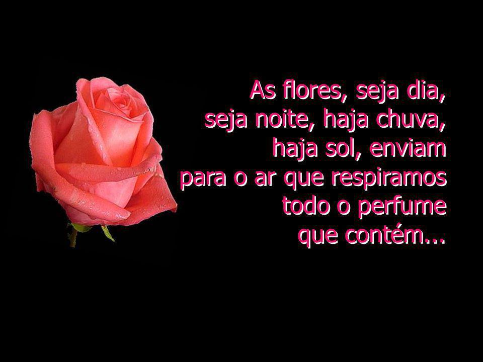 As flores, seja dia, seja noite, haja chuva, haja sol, enviam. para o ar que respiramos todo o perfume.