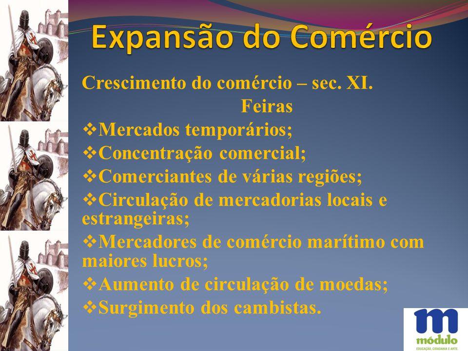 Expansão do Comércio Crescimento do comércio – sec. XI. Feiras