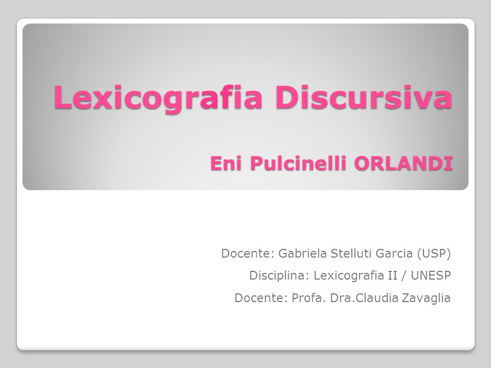 Lexicografia Discursiva Eni Pulcinelli ORLANDI