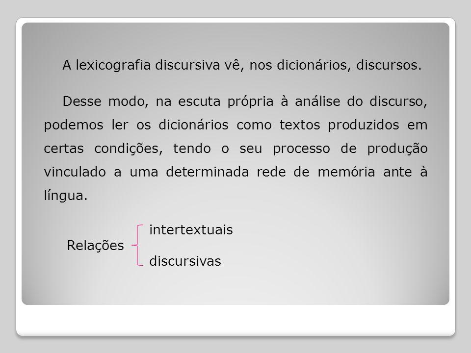 A lexicografia discursiva vê, nos dicionários, discursos.