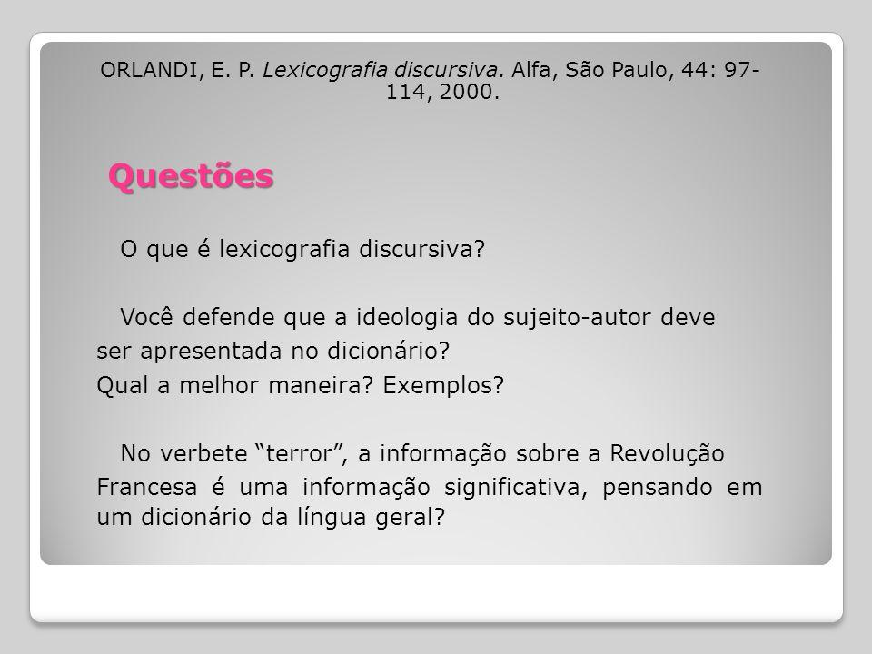 Questões O que é lexicografia discursiva