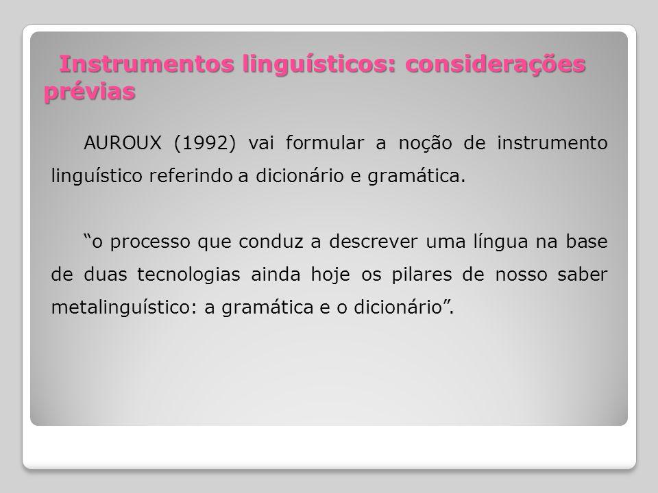 Instrumentos linguísticos: considerações prévias