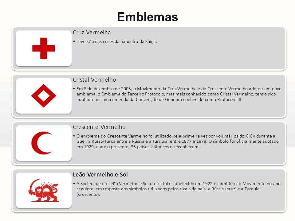 Emblemas Cruz Vermelha reversão das cores da bandeira da Suíça.