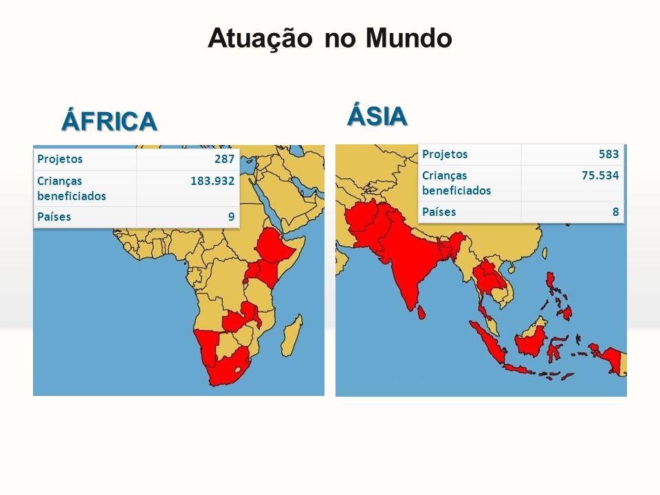 Atuação no Mundo ÁSIA ÁFRICA Projetos 583 Crianças beneficiados 75.534