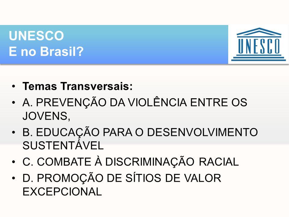 UNESCO E no Brasil Temas Transversais:
