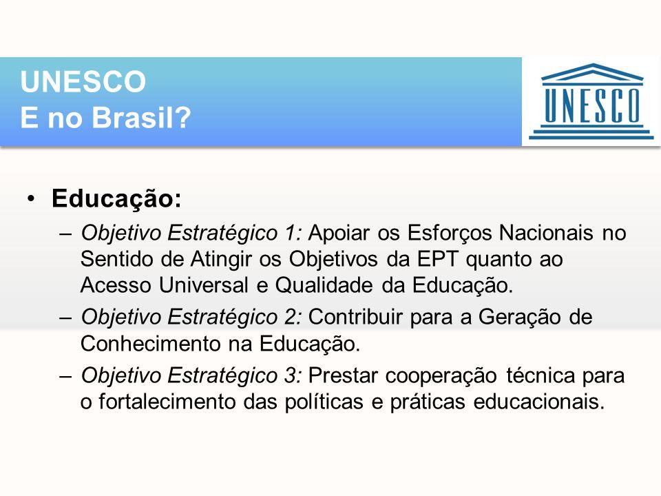 UNESCO E no Brasil Educação: