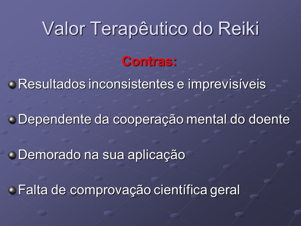 Valor Terapêutico do Reiki