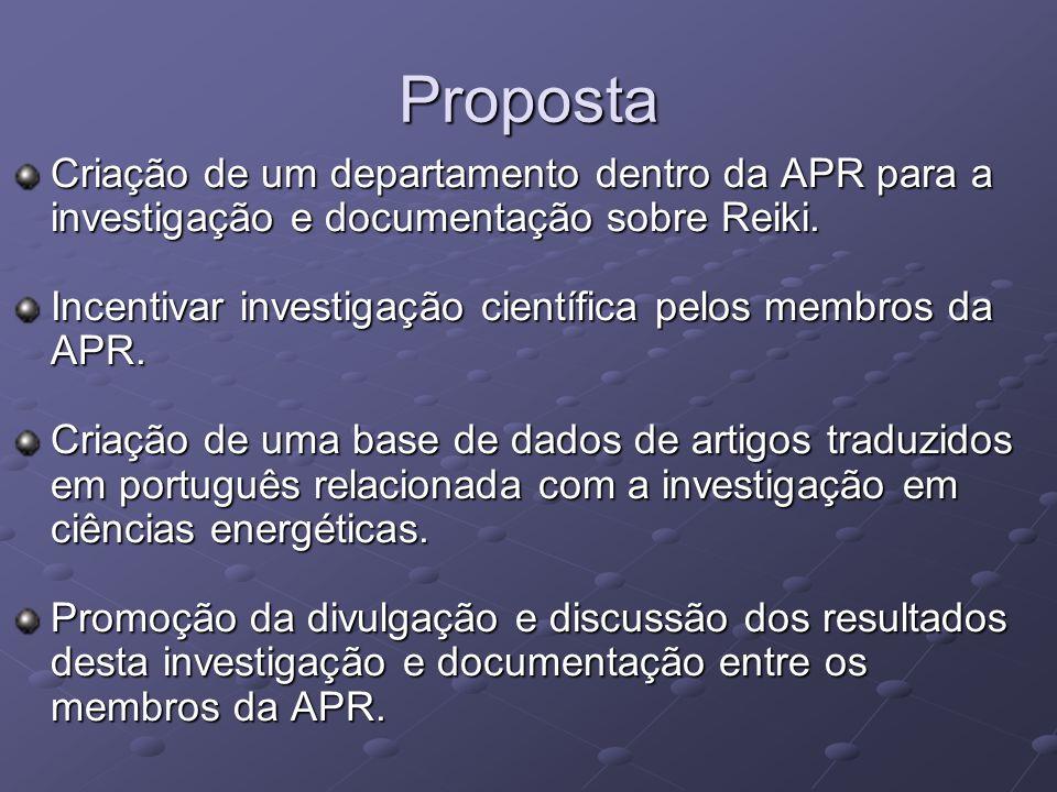 Proposta Criação de um departamento dentro da APR para a investigação e documentação sobre Reiki.