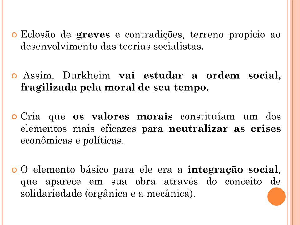 Eclosão de greves e contradições, terreno propício ao desenvolvimento das teorias socialistas.