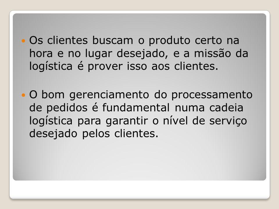 Os clientes buscam o produto certo na hora e no lugar desejado, e a missão da logística é prover isso aos clientes.