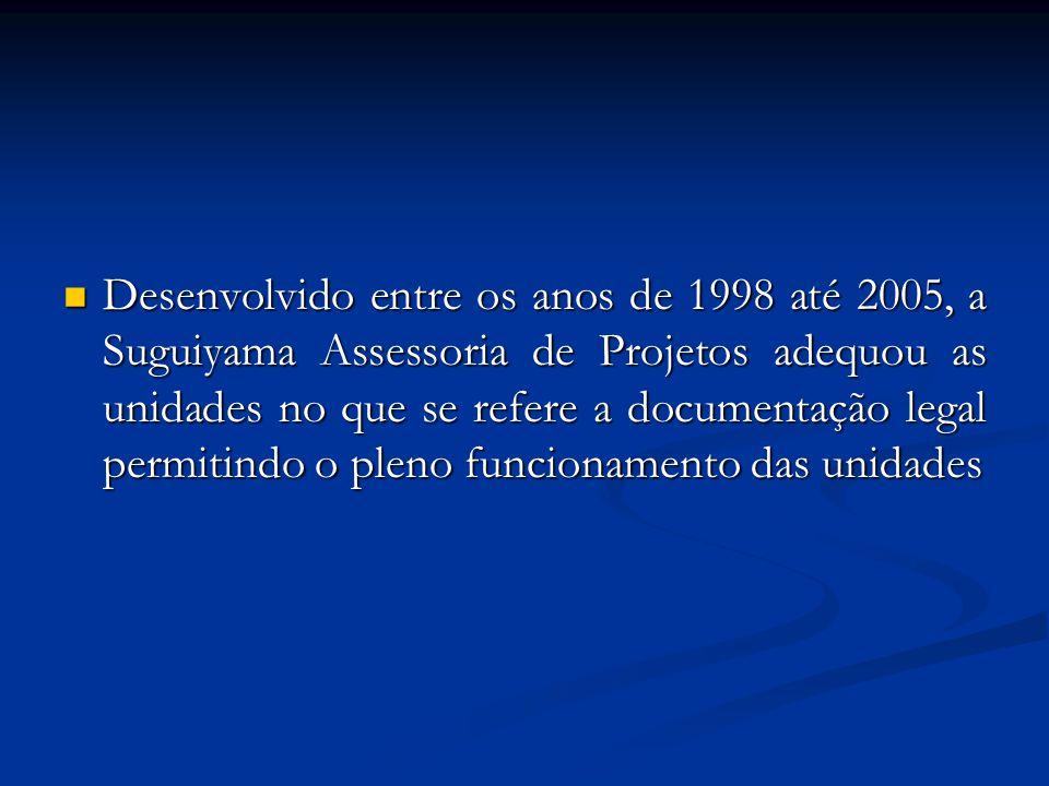 Desenvolvido entre os anos de 1998 até 2005, a Suguiyama Assessoria de Projetos adequou as unidades no que se refere a documentação legal permitindo o pleno funcionamento das unidades