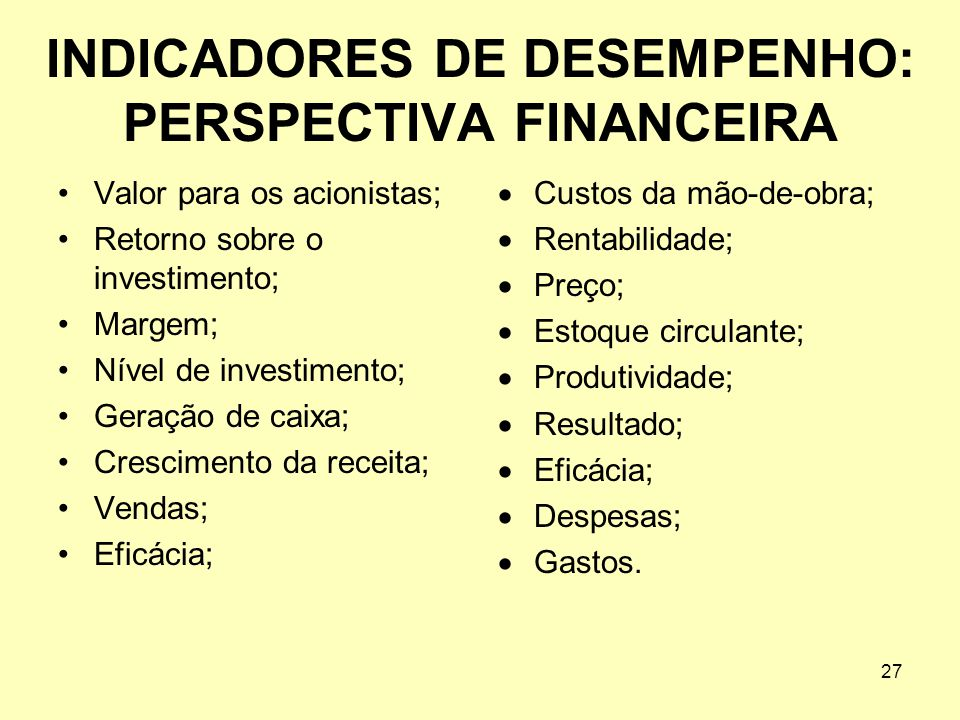 INDICADORES DE DESEMPENHO: PERSPECTIVA FINANCEIRA