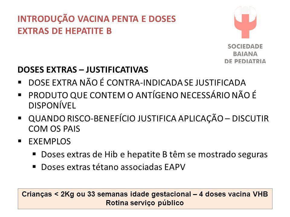 INTRODUÇÃO VACINA PENTA E DOSES EXTRAS DE HEPATITE B