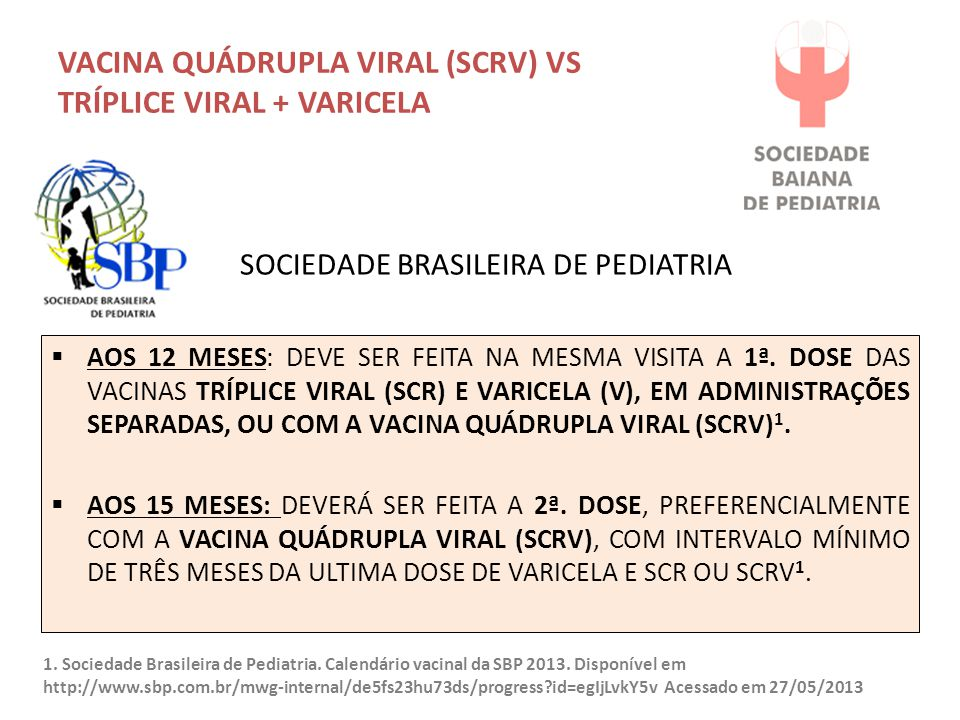 VACINA QUÁDRUPLA VIRAL (SCRV) VS TRÍPLICE VIRAL + VARICELA