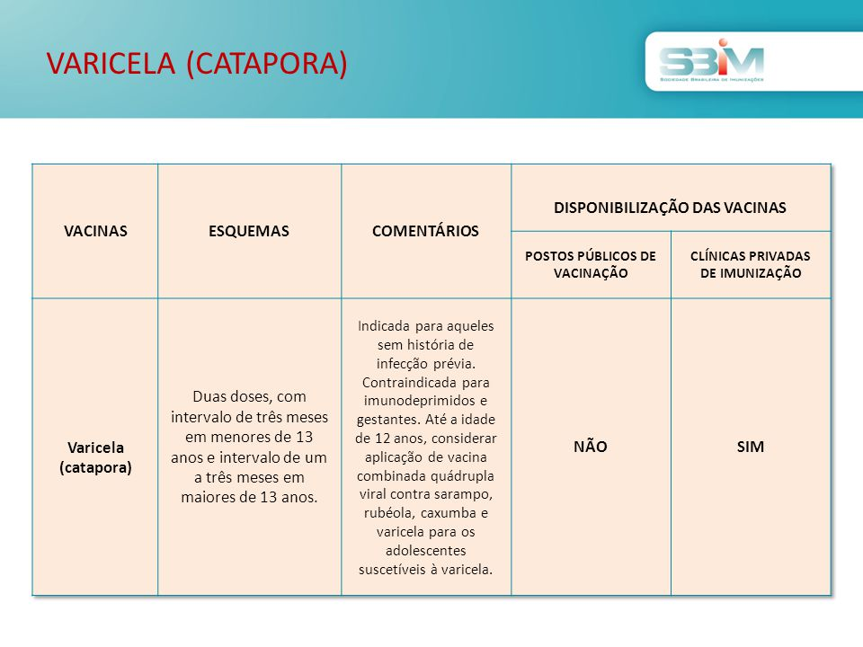 VARICELA (CATAPORA) VACINAS ESQUEMAS COMENTÁRIOS