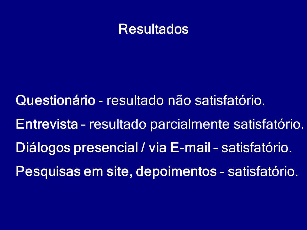 Resultados Questionário - resultado não satisfatório. Entrevista – resultado parcialmente satisfatório.