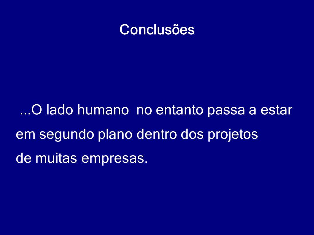 Conclusões ...O lado humano no entanto passa a estar.