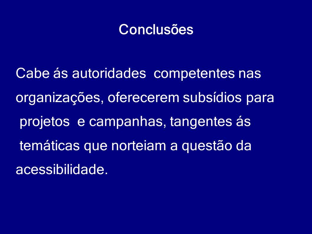 Conclusões Cabe ás autoridades competentes nas. organizações, oferecerem subsídios para. projetos e campanhas, tangentes ás.