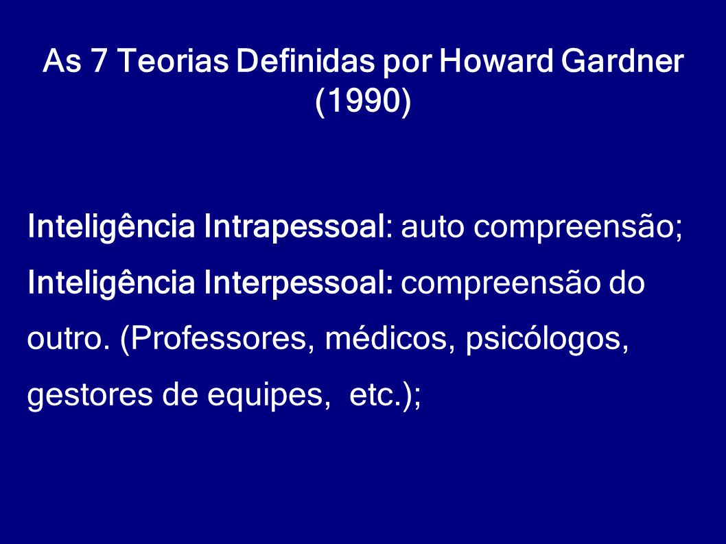 As 7 Teorias Definidas por Howard Gardner (1990)