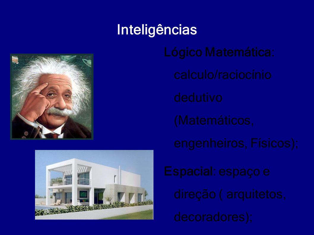 Inteligências Lógico Matemática: calculo/raciocínio dedutivo (Matemáticos, engenheiros, Físicos);